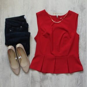 Kimchi Blue Urban Outfitters Red Peplum Tank Top L